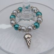 Ice Cream Cone Wine Glass Charm - Full Sparkle Style